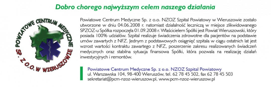 Powiatowe Centrum Medyczne Sp. z o.o. NZOZ Szpital Powiatowy w Wieruszowie